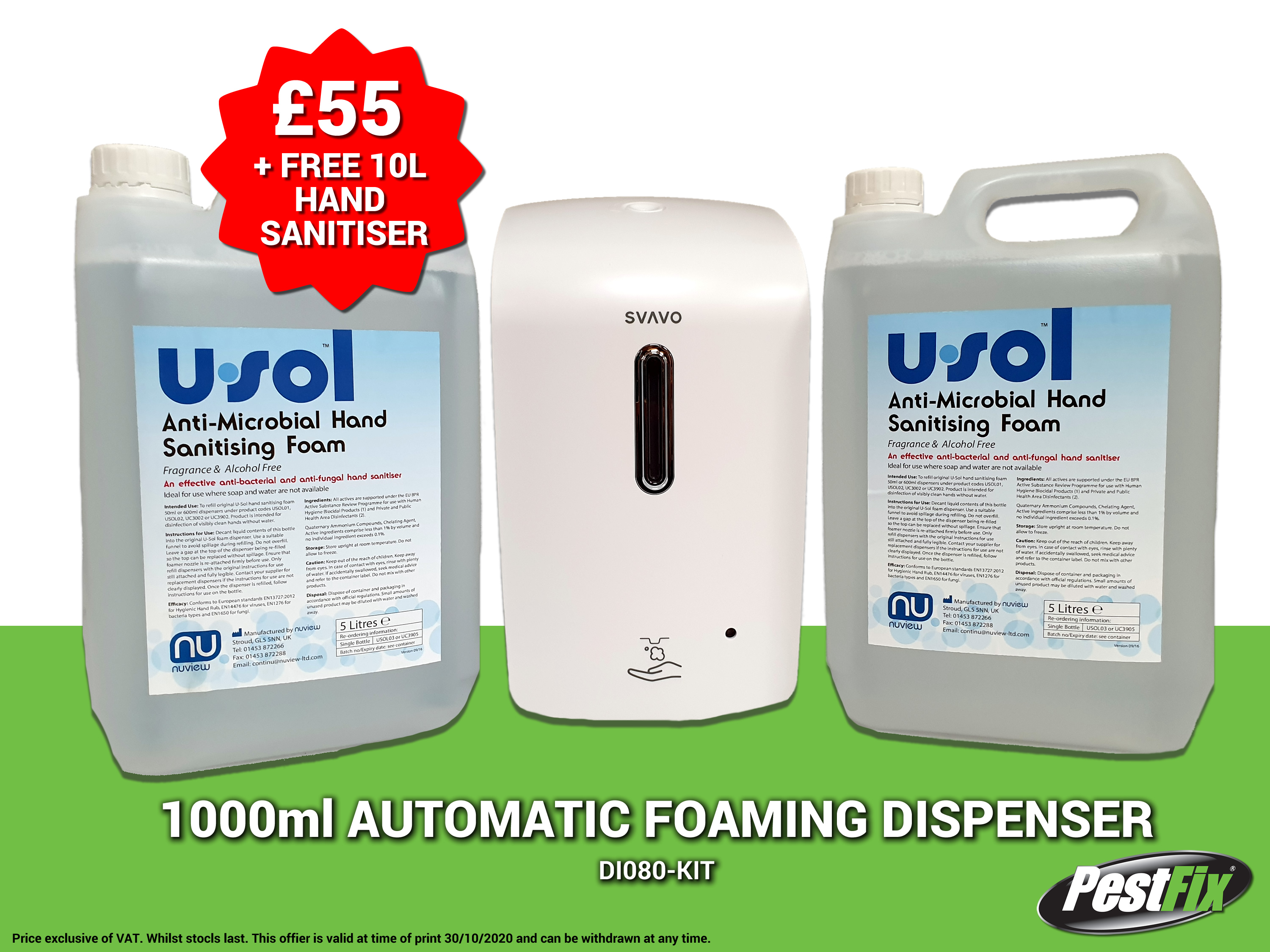 PestFix Automatic Dispenser with FREE 10L USol Hand Sanitiser
